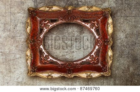 Old Picture Frame Handmade Ceramic On Marble Ruined Background
