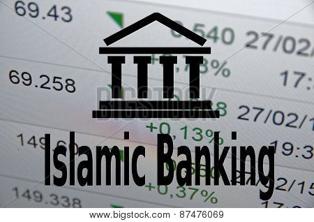 """Building icon and inscription """"Islamic banking"""" Islamic finance concept. poster"""