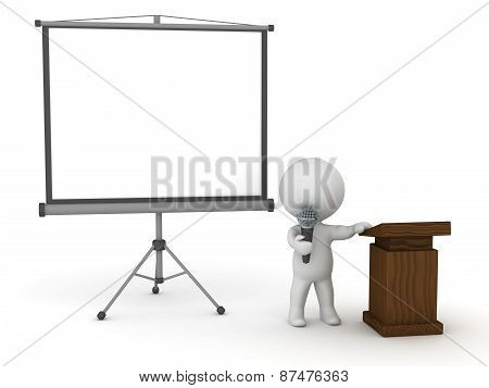 3D Character Public Speaker with Presentation Screen