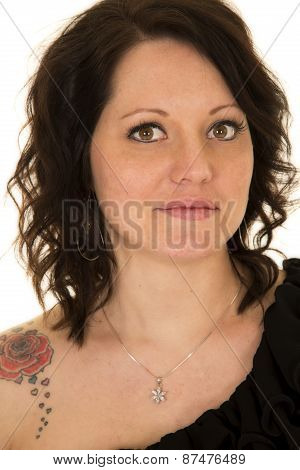 Woman Head Up Close Looking Rose Tattoo On Shoulder