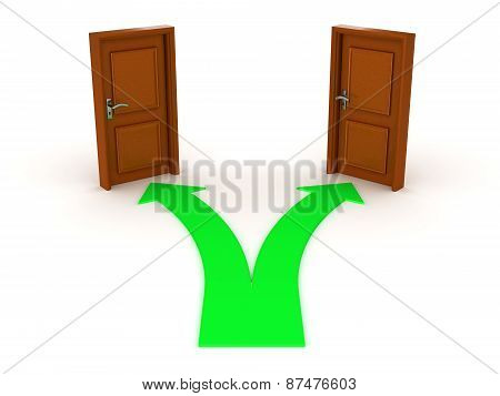 3D Arrow and Two Doors - Choice Concept