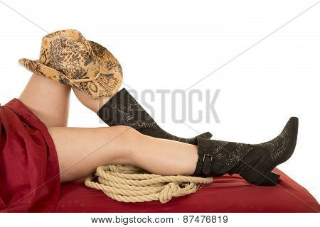 Woman Legs Under Sheet Cowboy Hat Boots Rope Under Knee