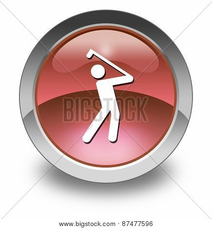 Image Illustration Icon Button Pictogram with Golfing symbol poster