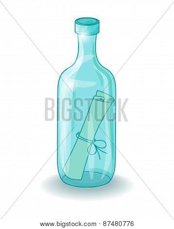 bottle with a letter vector illustration