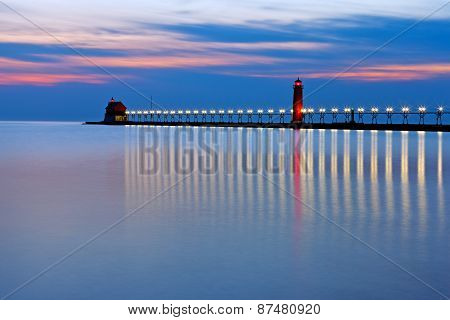 Grand Haven Pier Lighthouse At Night