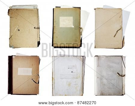 set of old folders with stack of papers, vector