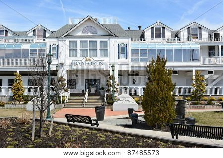 PORT JEFFERSON, NY - April 6, 2015: Danfords Hotel and Marina Entrance. On Long Island Sound estuary this upscale property features a spa, seafood restaurant and marina.