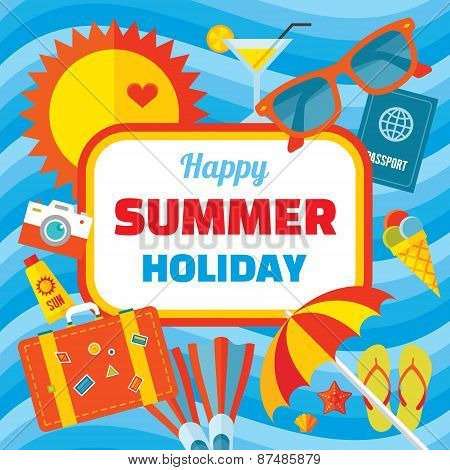 Happy summer holiday - creative vector banner in flat style design. Background.