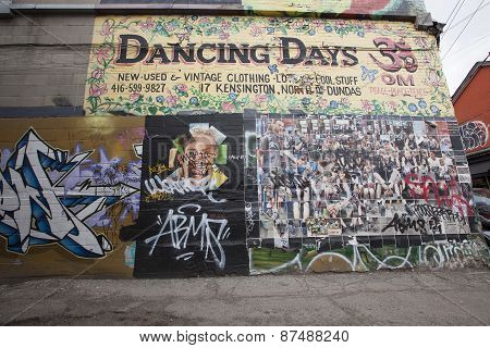 grafitti walls in Kensington Market Toronto