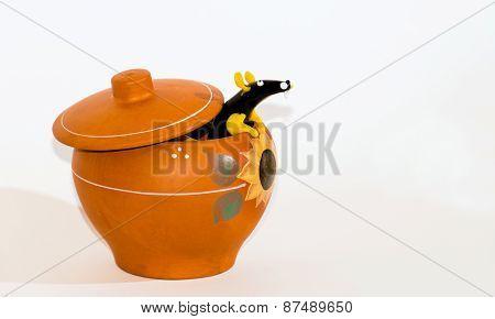 Rat in ceramic pot collage.