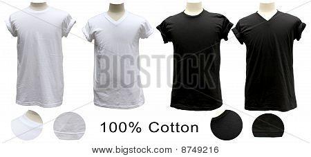 t Shirt 100 % Baumwolle weiß schwarz Runde v