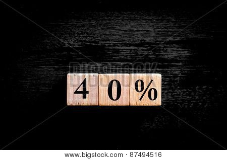 Fourty Percent Symbol Isolated On Black Background With Copy Space
