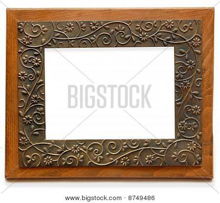 Elegant wood & brass photo frame