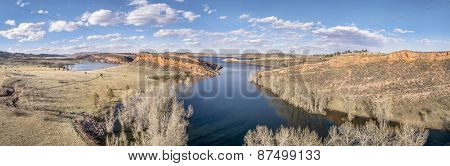 aerial panorama of Horsetooth Reservoir near Fort Collins, Colorado, early spring scenery with high water level