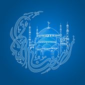 Arabic calligraphy text Ramzan-ul-Mubarak (Happy Ramadan) in moon shape with islamic mosque on blue background for holy month of muslim community festival celebration. poster