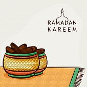 Islamic holy month of prayers, Ramadan Kareem celebrations concept with Iftar Party, Dates.  poster