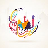 Colorful arabic calligraphy text Ramazan-ul-Mubarak (Happy Ramadan) in moon shape with islamic mosque for holy month of muslim community, Ramadan Kareem celebration poster