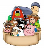 Banner with barn and country animals - color illustration. poster
