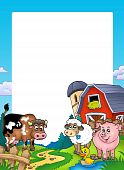 Frame with barn and farm animals - color illustration. poster