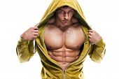 Strong Athletic Man Fitness Model Torso showing six pack abs. poster