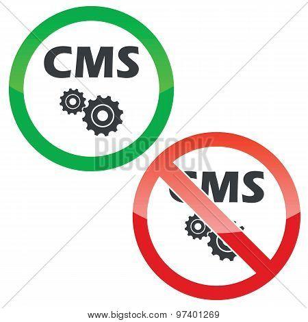 CMS settings permission signs set