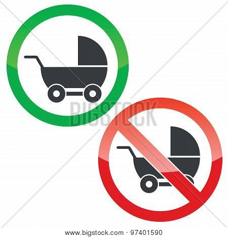 Pram permission signs set