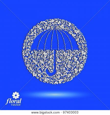 Beautiful flower-patterned umbrella. Stylized accessory, creative parasol, graphic illustration