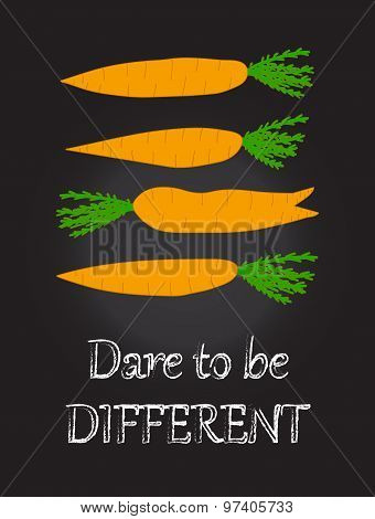 Funny kitchen art Wall decor Creative poster Orange carrots on chalkboard background
