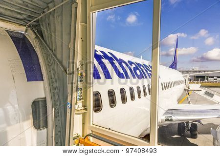 Boarding Lufthansa Jet Airplane In Frankfurt Airport