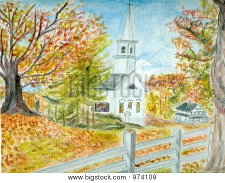 a watercolor drawing of a country church in autumn. **note: submitter is the artist. poster