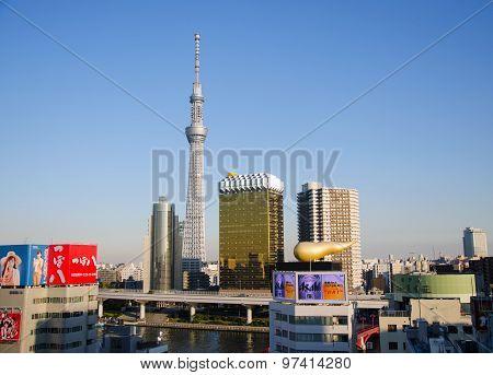 Tokyo, Japan - November 21, 2013:  Landmark Buildings Including Tokyo Sky Tree