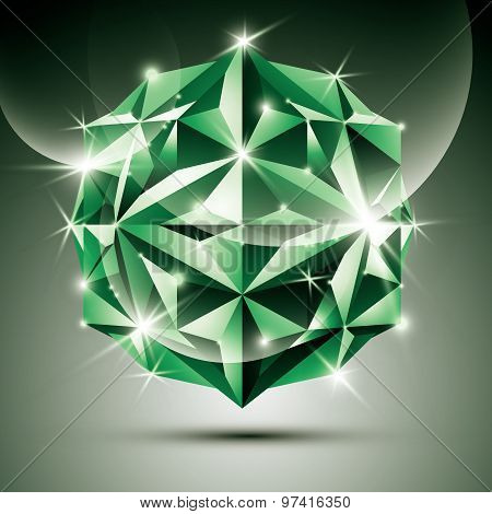 3D green shiny ball. Vector fractal dazzling abstract illustration, eps10 jewel. Gala theme.