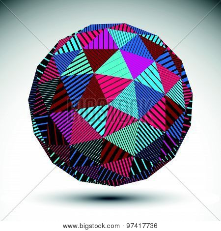 Multifaceted eps8 asymmetric contrast figure with parallel lines. Striped colorful misshapen abstract vector object constructed from triangles. poster