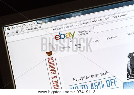 Ostersund, Sweden - July 31, 2015: ebay website on a computer screen. eBay is an americanmultinational corporationande-commercecompany