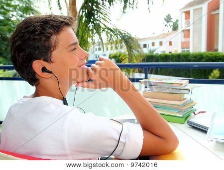 Boy Teenager Relaxed Outdoor Earphones