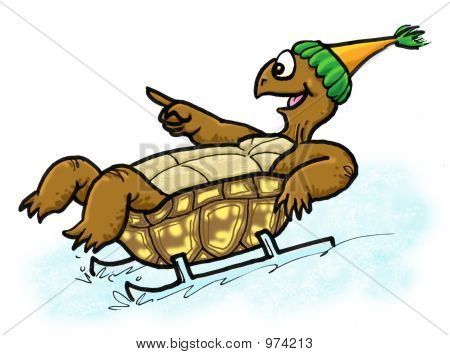 an illustration of moe the turtle sledding on his shell in the snow poster