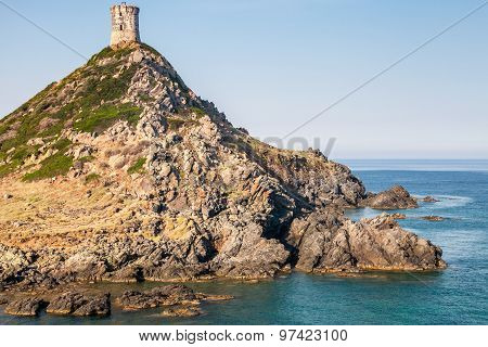 La tour Parata. Ancient Genoese tower on rocky cliff near Ajaccio Corsica France poster