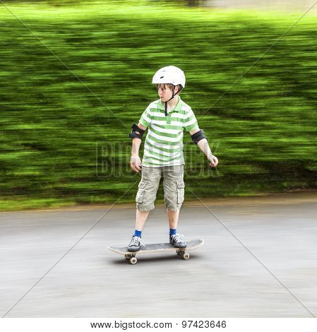 Boy Skating With Speed