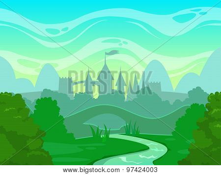 Seamless cartoon fantasy morning landscape