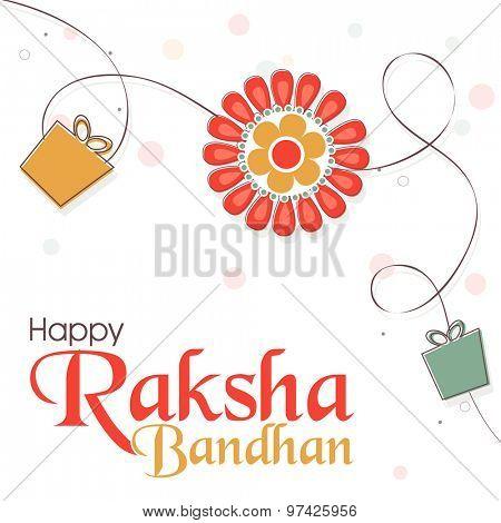 Elegant greeting card design decorated with beautiful rakhi and gifts on shiny background for Indian festival, Raksha Bandhan celebration.