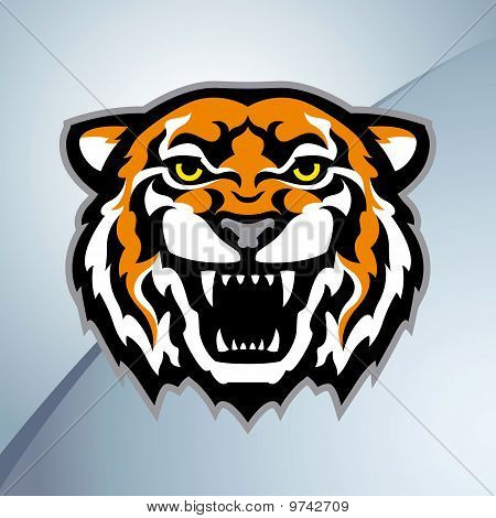 Color tiger head mascot on the metal background. Stylized vector illustration. poster