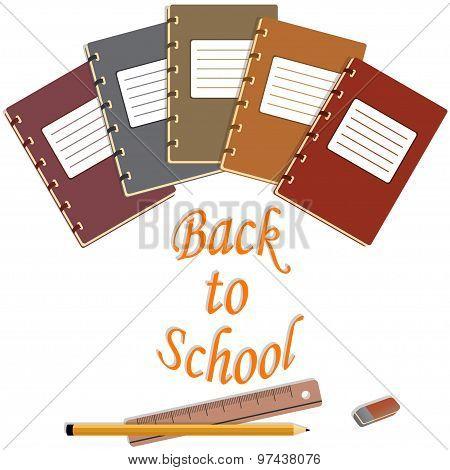 notebook, eraser, pencils, ruler abd back to school text
