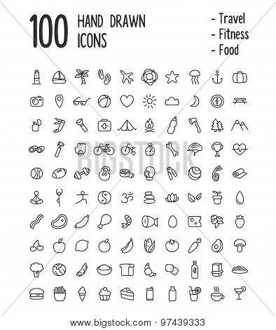 100 Hand Drawn Icons