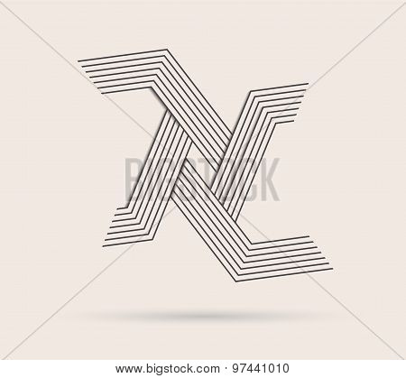 Abstract Vector Logo Made With Lines.
