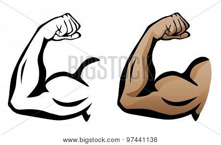 Muscular Arm Flexing Bicep Illustration
