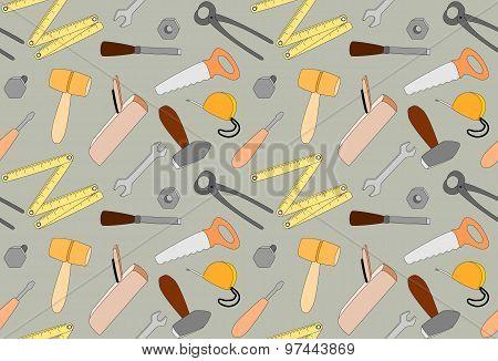 cartoon tools seamless pattern, illustration
