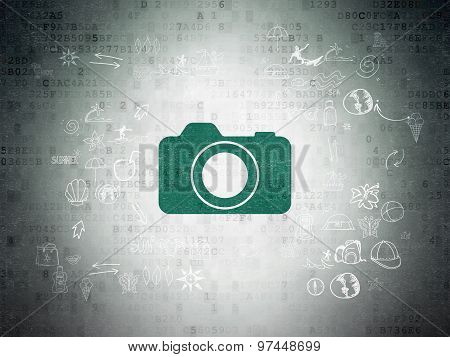 Vacation concept: Photo Camera on Digital Paper background