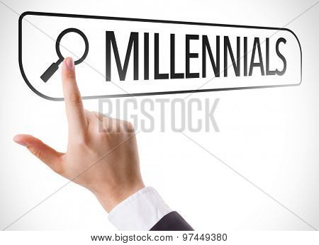Millennials written in search bar on virtual screen