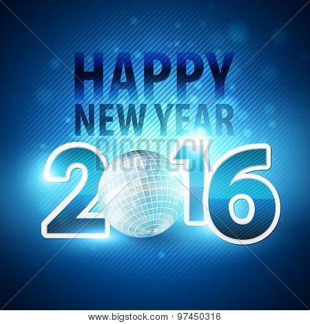 Happy New Year 2016 colorful disco lights background. Vector illustration