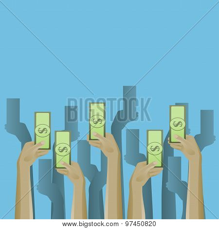 Up hands icon with money